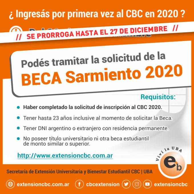 Beca Sarmiento Ingresantes 2020