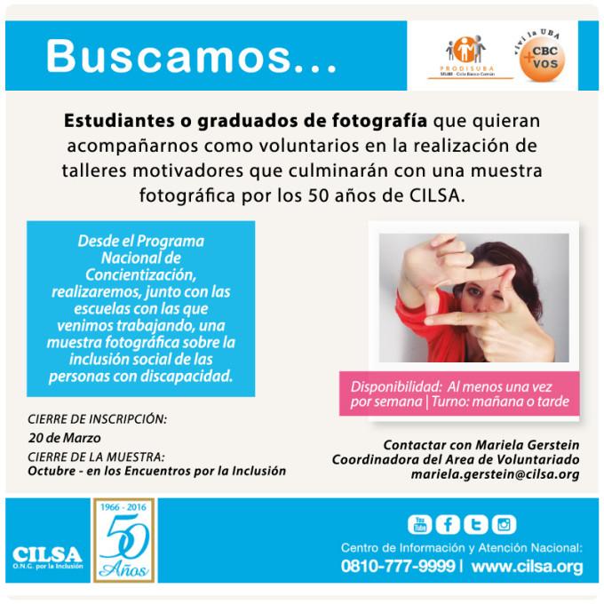 Invitación para participar como voluntario en fotografía de los talleres motivacionales en escuelas, con motivo de los 50 años de CILSA.