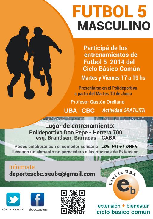 Futbol 5 2014, participá de los entrenamientos. Martes y viernes 17 a 19 hs - Barracas