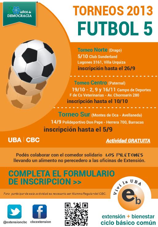 Futbol 5 2013, participá de los torneos: Zonas Sur, Centro y Norte