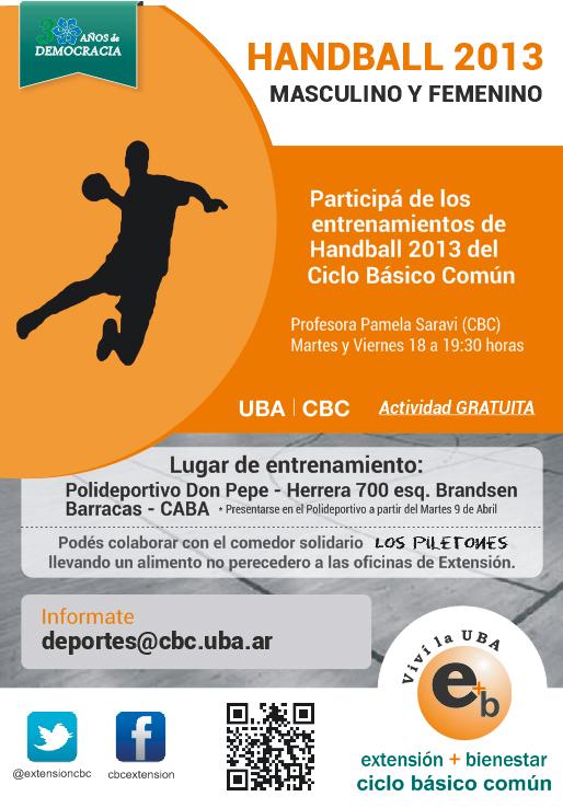 Handball 2013, participá de los entrenamientos. Martes y viernes 18 a 19:30 - Barracas