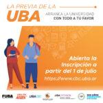 La Previa de la UBA - Abierta la inscripción a partir del 1 de junio