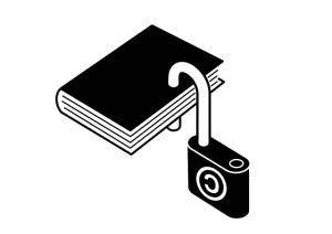 libro con candado derecho de autor