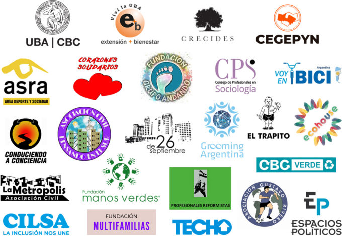 Acompañan esta actividad: UBA CBC, SEUBE CBC, Crecides, CEGEPYN, ASRA, Corazones Solidarios, Grupo Andando, CPS, Voy en Bici, Grooming Argentina, Pensando en el sur, 26 de septiembre, Espacios Políticos, Asociación Gustavo Riveros, La Metrópolis, Conduciendo a Conciencia, Profesionales Reformistas, CBC Verde, El Trapito, Fundación Multifamilias, CILSA, EcoHouse y Manos Verdes