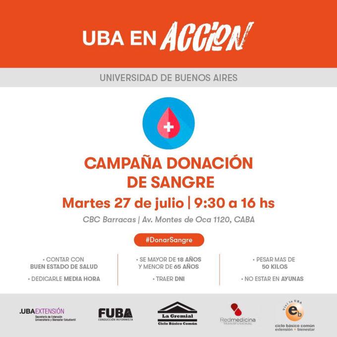 Campaña donación de sangre 27 de julio
