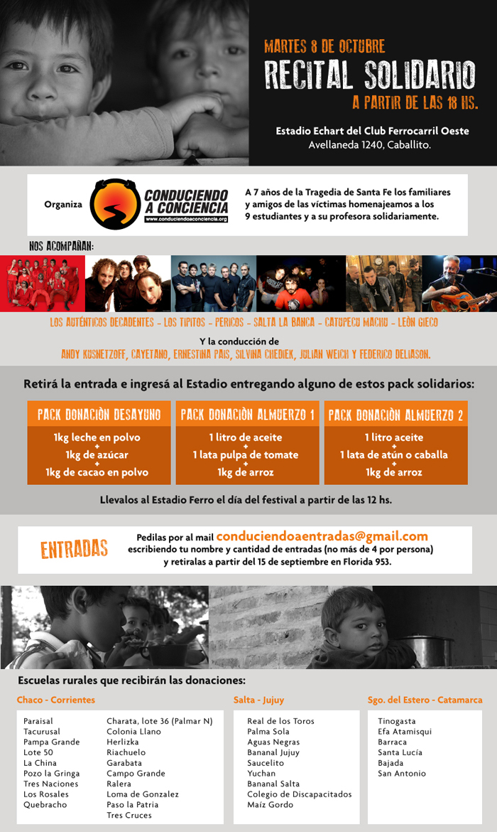 Afiche Recital solidario Conduciendo a Conciencia